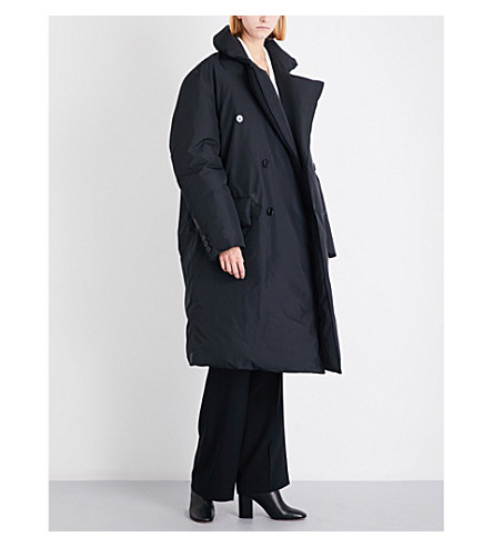 YANG LI Double-breasted oversized shell coat (Black