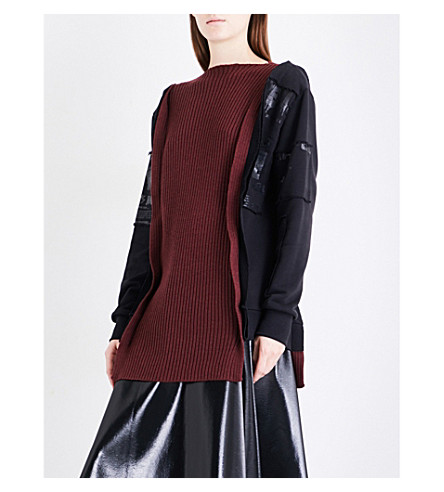 YANG LI Reconstructed cotton-jersey and wool jumper (Burgundy