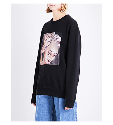 YANG LI Samizdat cotton-jersey sweatshirt (Black