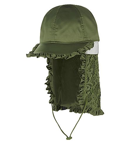 FENTY X PUMA Ruffle lace satin baseball cap (Olive+branch