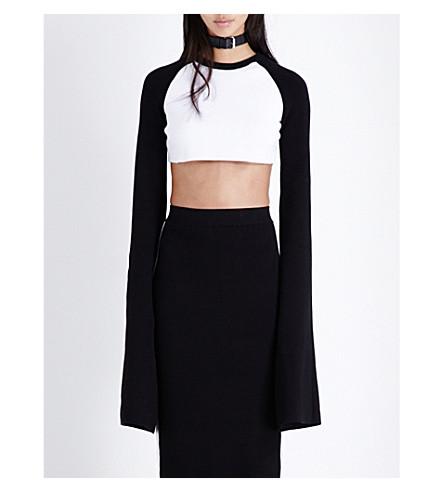 FENTY X PUMA Fenty x PUMA long-sleeve woven cropped-top (White-black