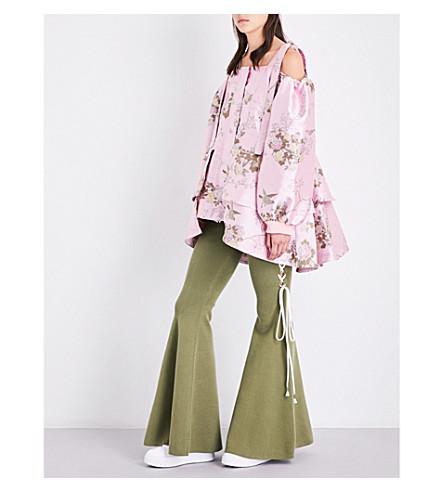 FENTY X PUMA Cold-shoulder floral-jacquard jacket (Crystal+rose