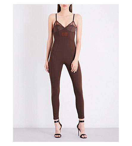 FENTY X PUMA Lace-trim satin and neoprene jumpsuit (Friar+brown
