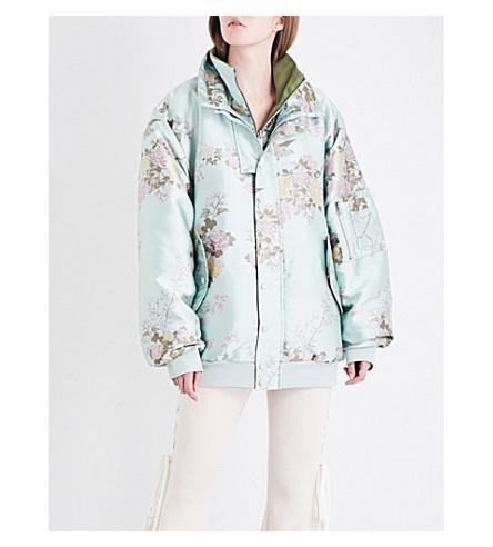 FENTY X PUMA Oversized reversible floral-jacquard and jersey bomber jacket (Bok+choy