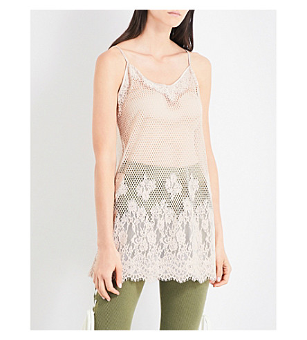 FENTY X PUMA Floral-lace and mesh camisole (Moonlight
