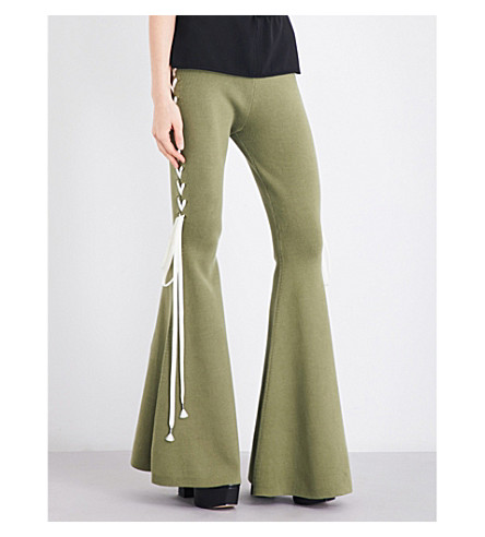 FENTY X PUMA Lace-sides knitted trousers (Olive+branch