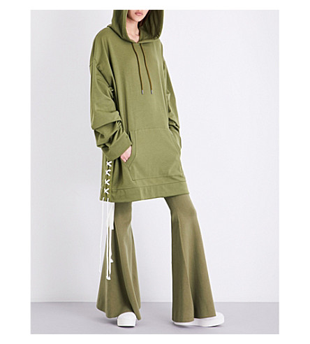 FENTY X PUMA Lace-up cotton-blend hoody (Olive+branch