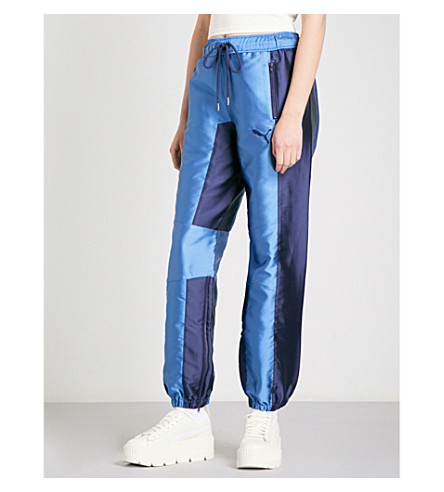 FENTY X PUMA Tapered relaxed-fit satin jogging bottoms (Evening+blue