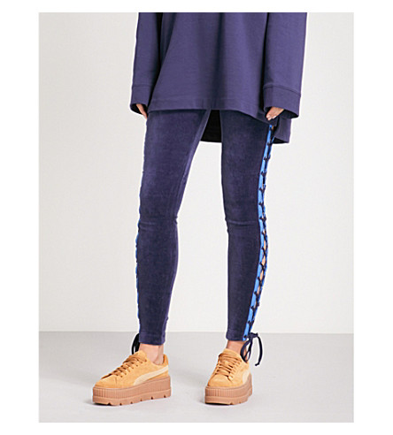 FENTY X PUMA Lace-up tapered mid-rise velvet jogging bottoms (Evening+blue