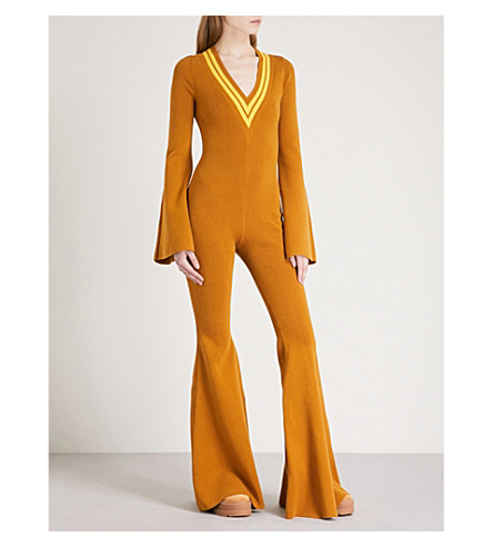 FENTY X PUMA V-neck knitted jumpsuit (Golden+brown