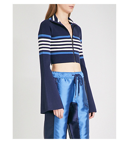 FENTY X PUMA Striped-detail cropped turtleneck knitted jacket (Evening+blue