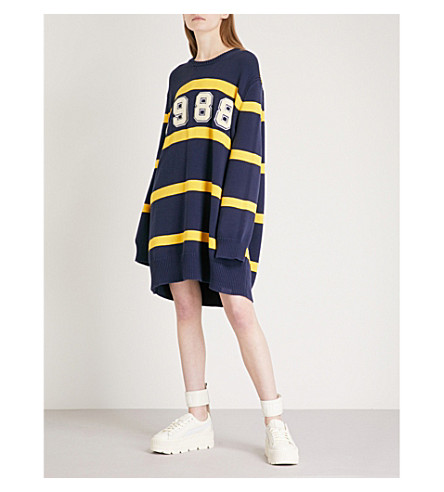 FENTY X PUMA Oversized striped knitted jumper (Evening+blue