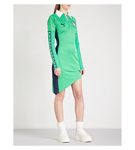FENTY X PUMA Asymmetric-hem printed sports-jersey dress (Fern+green