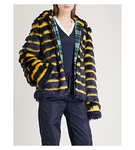 FENTY X PUMA Hooded striped faux-fur jacket (Evening+blue