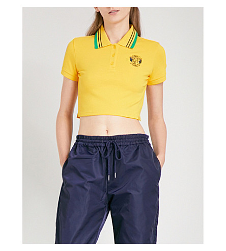 FENTY X PUMA Striped-collar stretch-piqué cropped polo top (Lemon