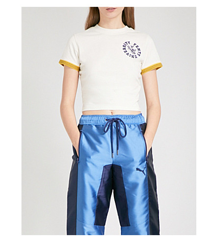 FENTY X PUMA Vintage cotton-jersey cropped top (Vanilla+ice