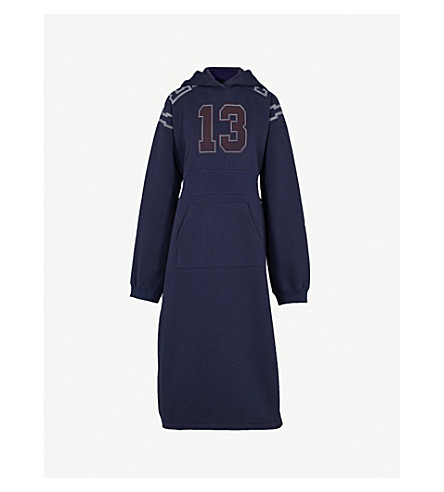 FENTY X PUMA Side-split jersey hoody dress (Evening+blue