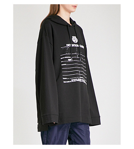 FENTY X PUMA Detention-print jersey hoody (Cotton+black