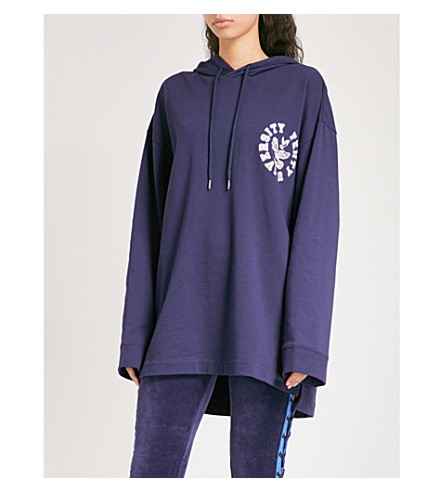 FENTY X PUMA Logo-embroidered lace-up cotton-blend hoody (Evening+blue