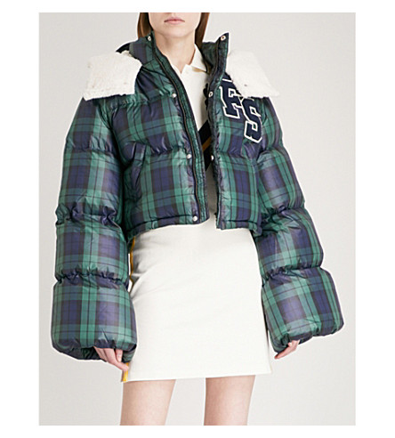 FENTY X PUMA Hooded cropped shell-down jacket (Black+plaid