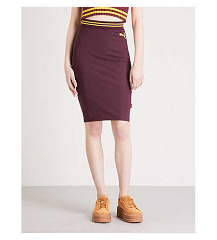 FENTY X PUMA Logo-embroidered fitted high-rise stretch-jersey skirt (Tawny+port