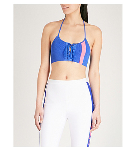 FENTY X PUMA Two-tone knitted cropped top (Dazzling+blue