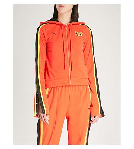 FENTY X PUMA Fenty x Puma side-stripe jersey jacket (Cherry+tomato