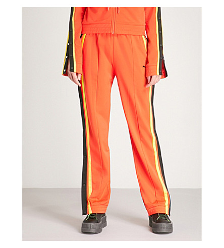 FENTY X PUMA Side-stripe mid-rise jersey jogging bottoms (Cherry+tomato
