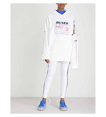 FENTY X PUMA Laced oversized cotton-fleece hoody (Bright+white