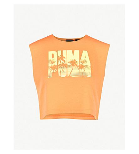 FENTY X PUMA Logo-print cotton-blend crop top (Orange+pop