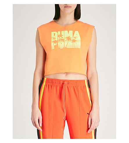 FENTY X PUMA Logo-print cotton-blend cropped top (Orange+pop