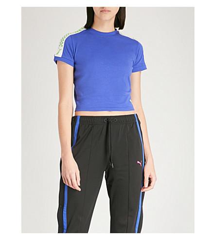FENTY X PUMA Side-stripe cropped cotton-jersey T-shirt (Dazzling+blue