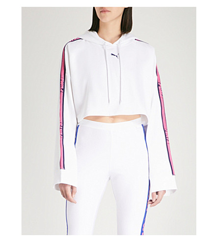 FENTY X PUMA Cropped cotton-fleece hoody (Bright+white