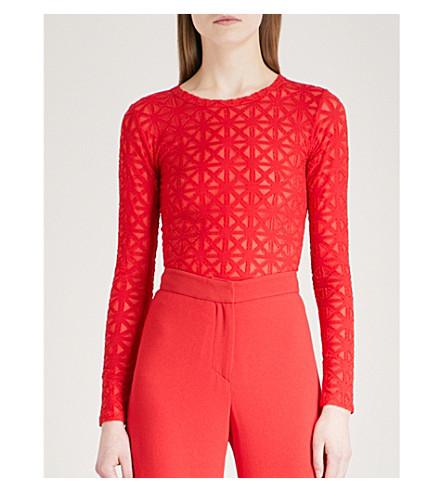 GARETH PUGH Geometric-pattern woven top (Red