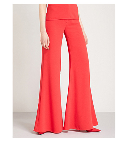 GARETH PUGH Wide-leg high-rise crepe trousers (Red