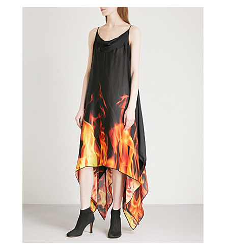 GARETH PUGH Flame-pattern silk dress (Multi