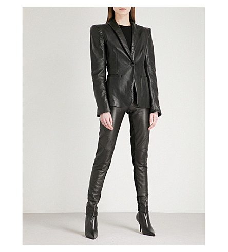 GARETH PUGH Shawl-collar leather tuxedo jacket (Blk
