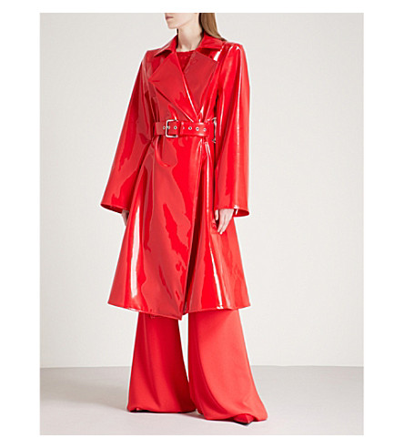 GARETH PUGH Belted PVC trench coat (Red