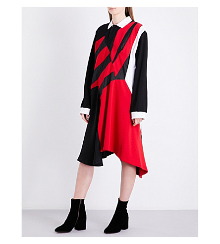 KOCHE Striped asymmetric cotton-jersey dress (Red