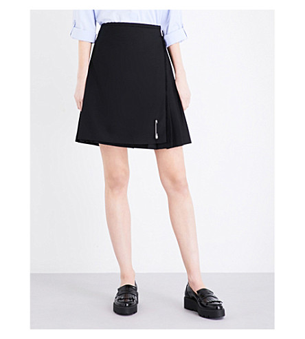 LE KILT Frayed wool skirt (Black