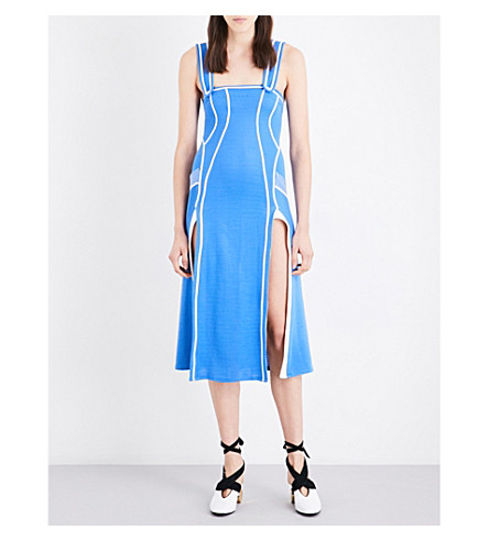 RICHARD MALONE Split-hem ribbed-knit midi dress (Blue/white