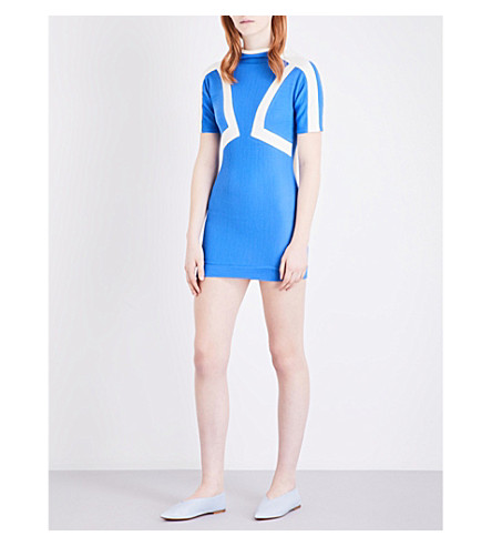 RICHARD MALONE Open-back crepe dress (Blue/white