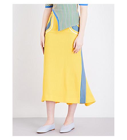 RICHARD MALONE Striped-sides ribbed skirt (Yellow