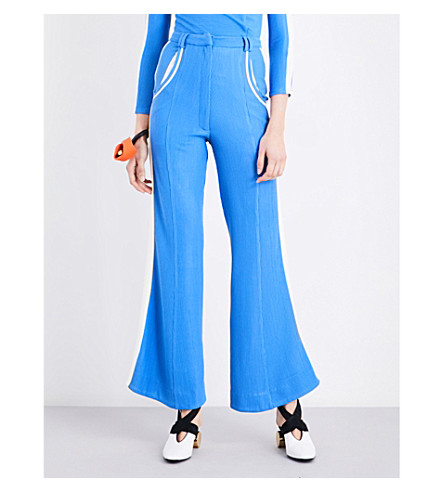 RICHARD MALONE Flared ribbed-knit trousers (Blue/white