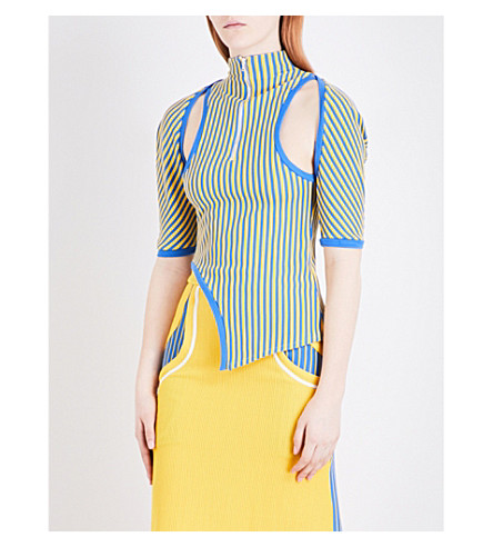 RICHARD MALONE Striped ribbed-knit top (Yellow blue