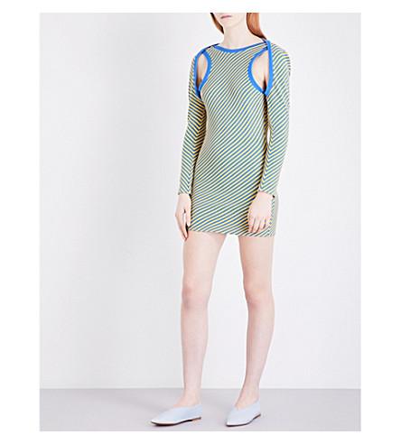 RICHARD MALONE Striped ribbed-knit mini dress (Blue yellow original