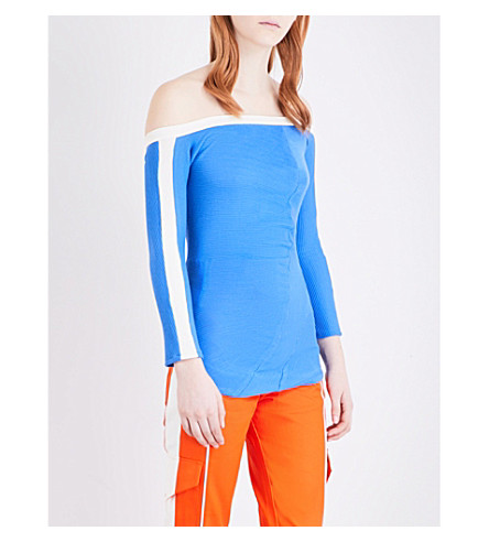 RICHARD MALONE Off-the-shoulder ribbed-knit top (Blue/white