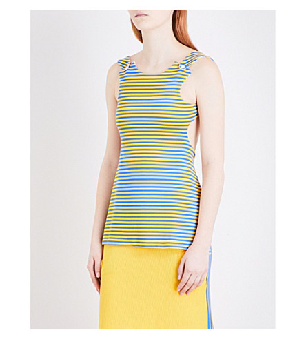 RICHARD MALONE Striped open-back ribbed-knit top (Yellow blue