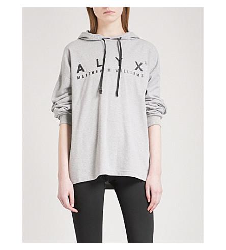 ALYX Logo-print cotton-blend hoody (Gray