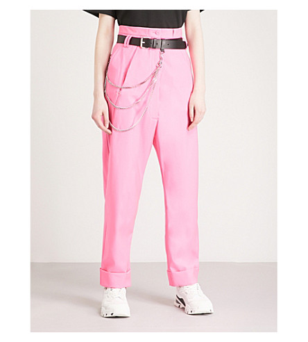 ALYX Chain-embellished relaxed-fit straight virgin-wool trousers (Pink